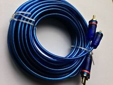 5M RCA Meter Oxygen Free Clear Car Stereo High Quality OFC Cable Blue Lead