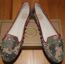 $195 ASH MILITARY/ RED LEATHER BALLET FLATS SZ 40M/ 10 US