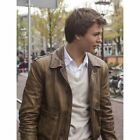 THE FAULT IN OUR STARS ANSEL ELGORT DISTRESSED COWHIDE LEATHER JACKET