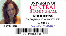 NOVELTY STUDENT ID - Plastic Fake Prop Uni Card - Personalised - Birmingham