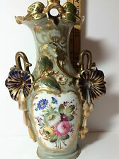 Old Paris France Porcelain Vase Urn Original Antique 1850-1890 Flowers/Green