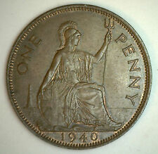1940 Bronze One Pence UK One Penny Britain Coin YG