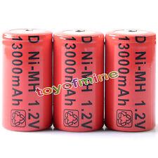 3 x Tamaño D 13000mAh Batería recargable Ni-MH 1.2v Nuevo