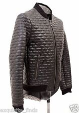 BRAND NEW VERSACE COLLECTION BLACK QUILTED LEATHER BOMBER JACKET 48 - 38