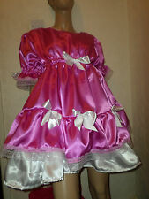 "ADULT BABY SISSY DEEP PINK SATIN DRESS 50"" PRETTY FRILLY LACE  WHITE DOUBLE HEM"