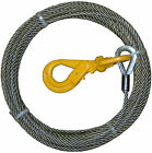 """B/A PRODUCTS STEEL CORE 3/8"""" X 75' WINCH CABLE WITH SELF LOCKING SWIVEL HOOK"""