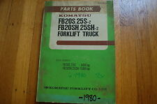 KOMATSU FB20 FB25 Forklift Parts Book Manual 1980 spare catalog index list shop