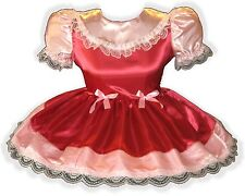 """""""Ruthie"""" Custom Fit Red & Pink SATIN Adult LG Baby Sissy Dress LEANNE"""