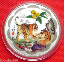 Beautiful Chinese Lunar Zodiac Colored  1 Oz  Silver Coin - Year of the Tiger