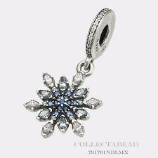 Authentic Pandora Silver Hanging Snowflake Blue C.Z Crystals Bead 791761NBLMX