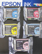 5p Genuine Epson 78 Ink T078920(T0782-T0786) _R280 595/Artisan 50 fit 77 ink
