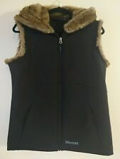 Marmot Furlong Windwall Vest Size L Large 12 14 Black Faux Fur Softshell Gilet