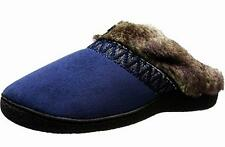ISOTONER $50 NAVY Microsuede Faux Fur Mules Slippers Shoes COMFY 8.5 - 9 NWT