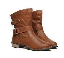 Hot Womens Comfy Low Heel Buckle Shoes Combat Military Mid Calf Ankle Boots Size