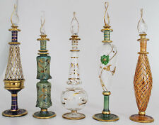 """Set of Five 9"""" Egyptian Perfume Bottles + 24K Gold Plated + Mouth Blown"""