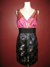 NWT Phoebe Couture 6 pink gold midnight blue black silk blend cocktail dress A8