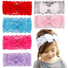 New 7PCS Kids Girl Baby Headband Toddler Lace Bow Flower Hair Band Accessories