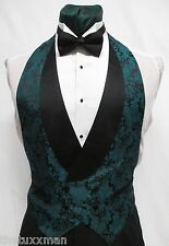 M Medium Mens Teal Green Paisley Backless Tuxedo Vest & Bowtie Discount Vintage