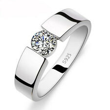 Solitaire Jewelry Men's Topaz Diamonique 925 Silver Wedding Band Ring Sz 10/T