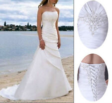 New White/Ivory A-Line Wedding Dresses Strapless Beach Bridal Gowns Stock sz6-16