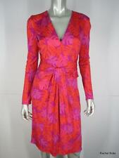 NWT $663 ISSA LONDON 6 S Silk Magenta Multi Leaf Print Cocktail Dress UK 10 NEW