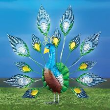 Solar Powered Lighted Colorful Peacock w/ Faux Crystals Metal Garden Stake