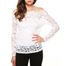 SEXY LACE Womens Long Sleeve Shirt Casual Blouse Formal Tops S~5XL Ladies Shirt