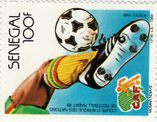 TIMBRE FOOTBALL SENEGAL 100 F NEUF NEW CAN CAF RABAT 88 vainqueur CAMEROUN