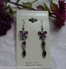 Purple Crystal Butterfly Double Drop Dangle Earrings