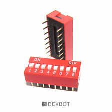 Interrupteurs DIP switch 16 Pins 8 positions Rouge. DIY Arduino Pi. Lot de 2pcs