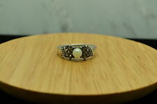 925 STERLING SILVER IMITATION PEARL & MARCASITE RING BAND SZ 6.5 #13335