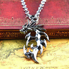 Fashion Men's Cool Fire Dragon Necklace Titanium Steel Pendant Necklace Chain