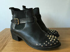 OFFICE LADIES BLACK LEATHER CHELSEA STYLE STUDDED ANKLE BOOTS UK4 EUR37