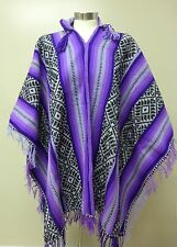 Shamans Hooded Purple and Black Poncho- Andean Mountain Textile