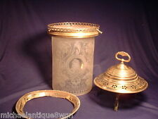 Rare Antique Art Noveau Acid Etched Ceiling lamp Shade with Mounts