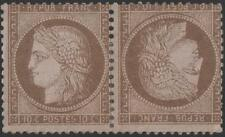 """FRANCE STAMP TIMBRE N° 58 c """" CERES  10c BRUN SUR ROSE PAIRE TETE BECHE""""NEUFx TB"""