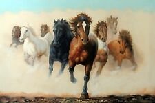 Mustang Herd Wild Horses Western Cowboy Stampede Stretched 24X36  Oil Painting