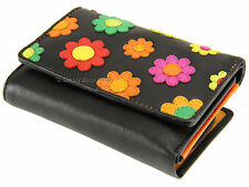 Visconti Daisy Applique Multi Compartment Ladies Leather Purse Wallet - DS81