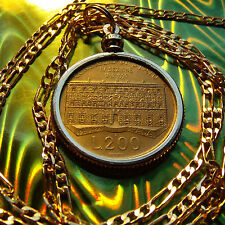 "Classic Italy-200 Lire Golden Brass Coin Pendant & 30"" Gold Plated Figaro Chain"