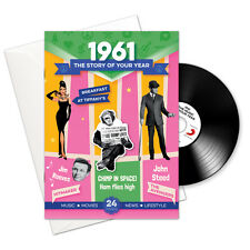 1961 55th Birthday or Anniversary Gift -1961 4-In-1 Card,Book,CD and Download