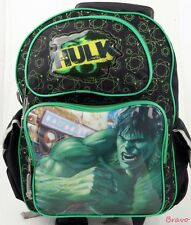 """NWT Brand New Marvel The Hulk 16"""" Large Rolling Backpack School Roller - Green"""