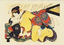 Japanese Reproduction Woodblock Print Shunga Style 5 Erotic  A4 Parchment Paper