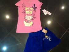 NWT Juicy Couture New & Genuine Velour Skirt & Cotton T-Shirt Set Girls Age 8