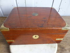 Antique Victorian mahogany writing box with brass inlay