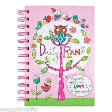 Rachel Ellen Designs -  A5 Hardbound Wiro Organiser - Daily Plans - Owl Design