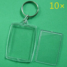 10Pcs Keychain Key Rings Blank Clear Acrylic Picture Frames 32x46mm Lockets
