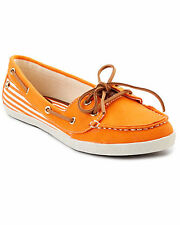 BRAND NEW SEBAGO FAYETTE TIE ORANGE WHITE CANVAS CASUAL BOAT SHOES 6.5 / 37 SALE