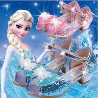Kids Girls Frozen Anna Elsa Princess Cosplay Dress Up Pearl Shoes Party Sandals