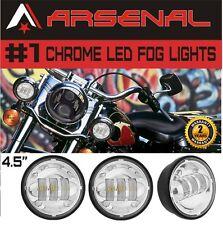"""2x 4-1/2"""" Chrome LED Spot Fog Passing Light Lamp For Harley Davidson Motorcycle"""