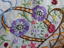 Hand embroidered linen tablecloth, raised work baskets of flowers,168cm x 130cm